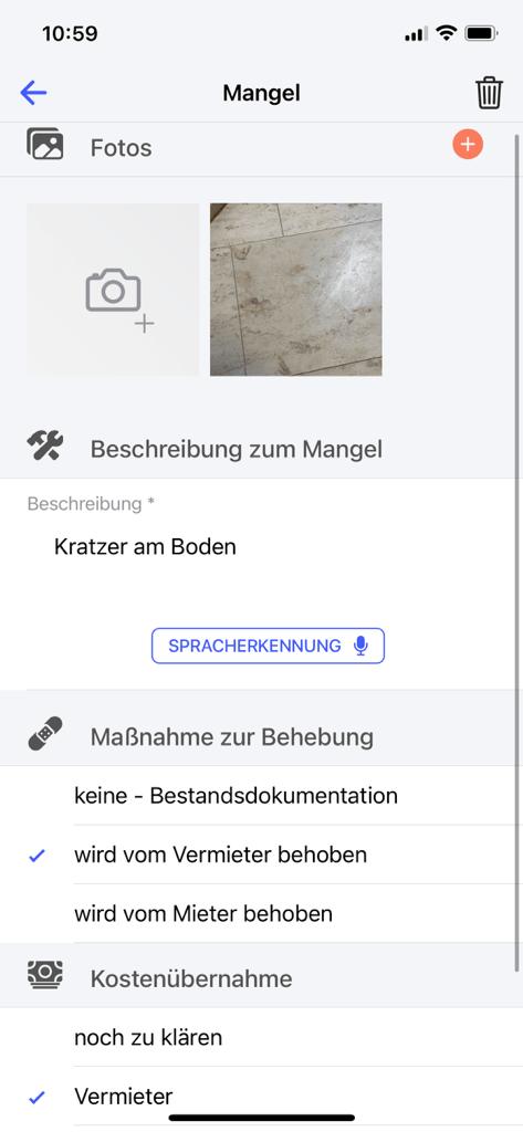 deep rent app screenshot maengel