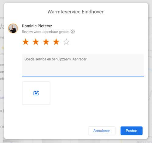 Review plaatsen Google My Business