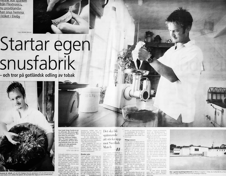Tidningsurklipp om Gotlandssnus