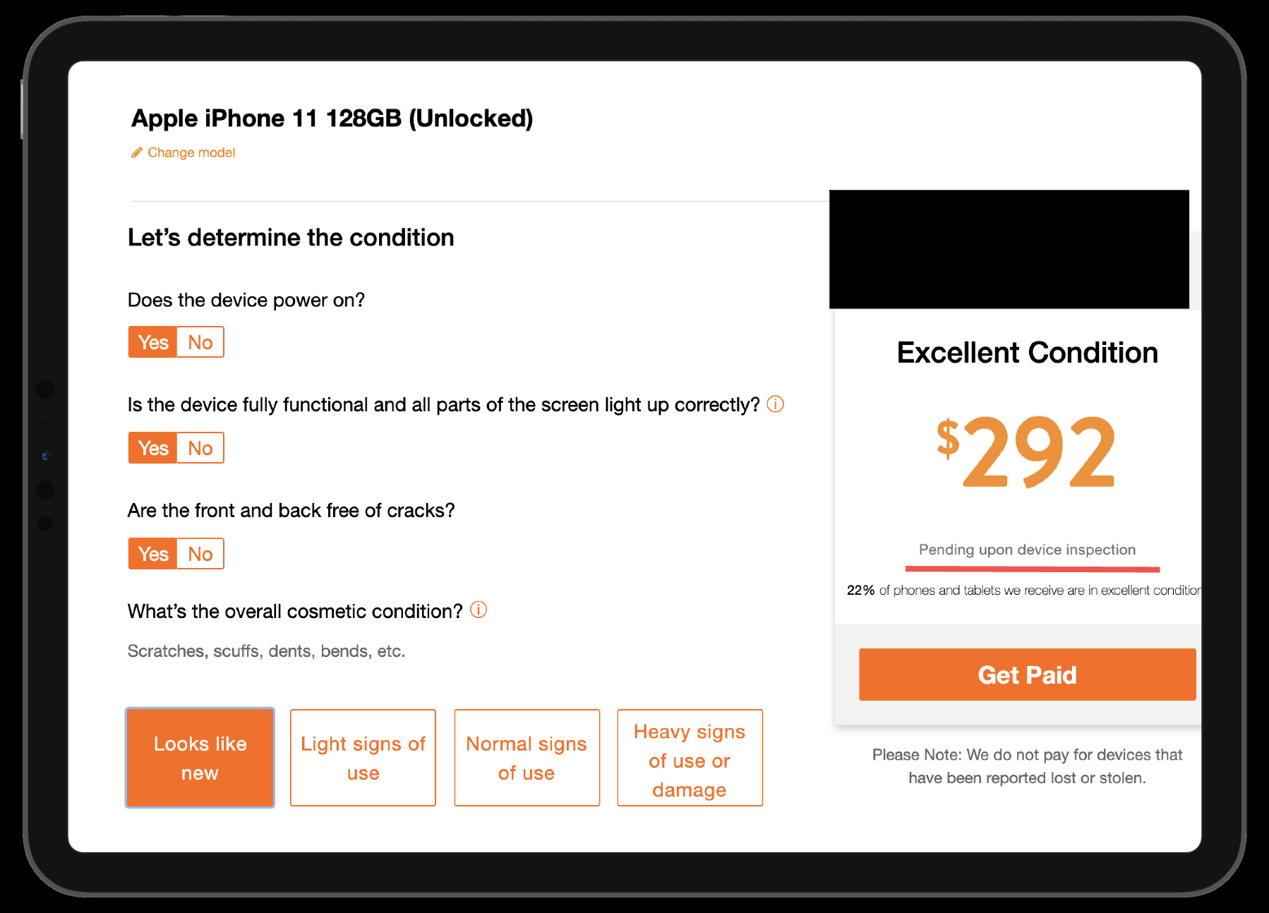 screenshot showing bad pricing when you go to sell a phone