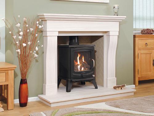 A Newman Limestone fireplace