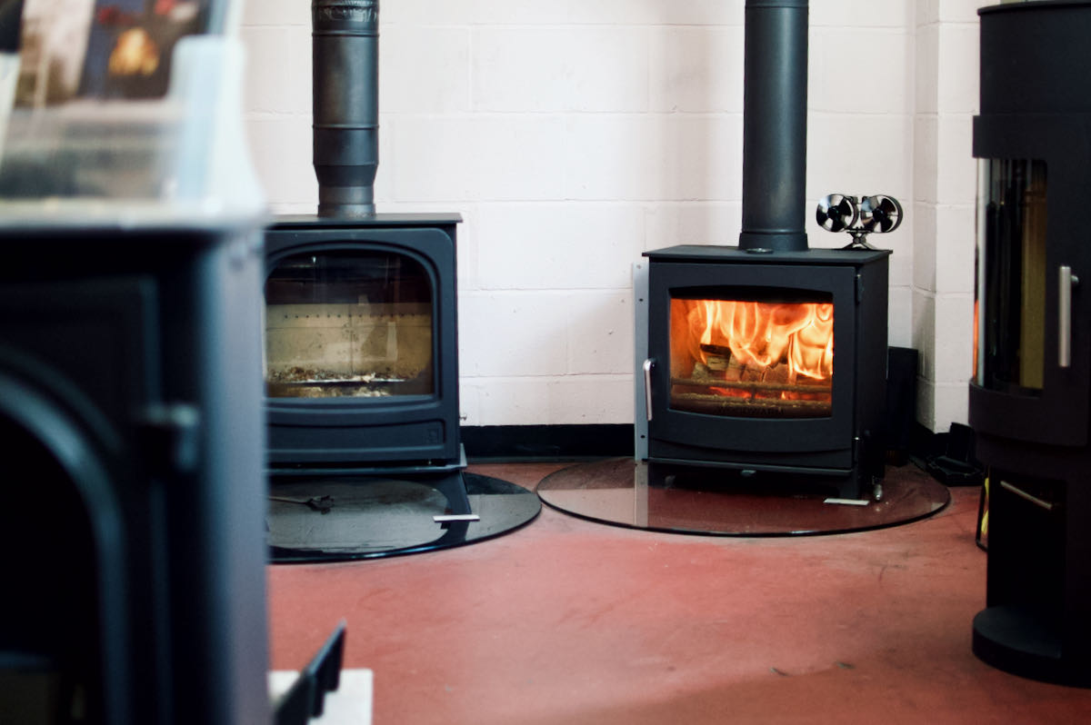 A Woodwarm Fireview Eco Wood Burning Stove on display in our showroom.
