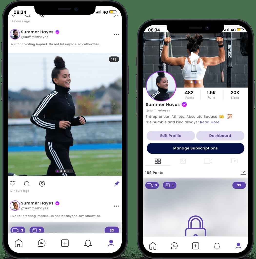 A showcase of TrueFanz's mobile app