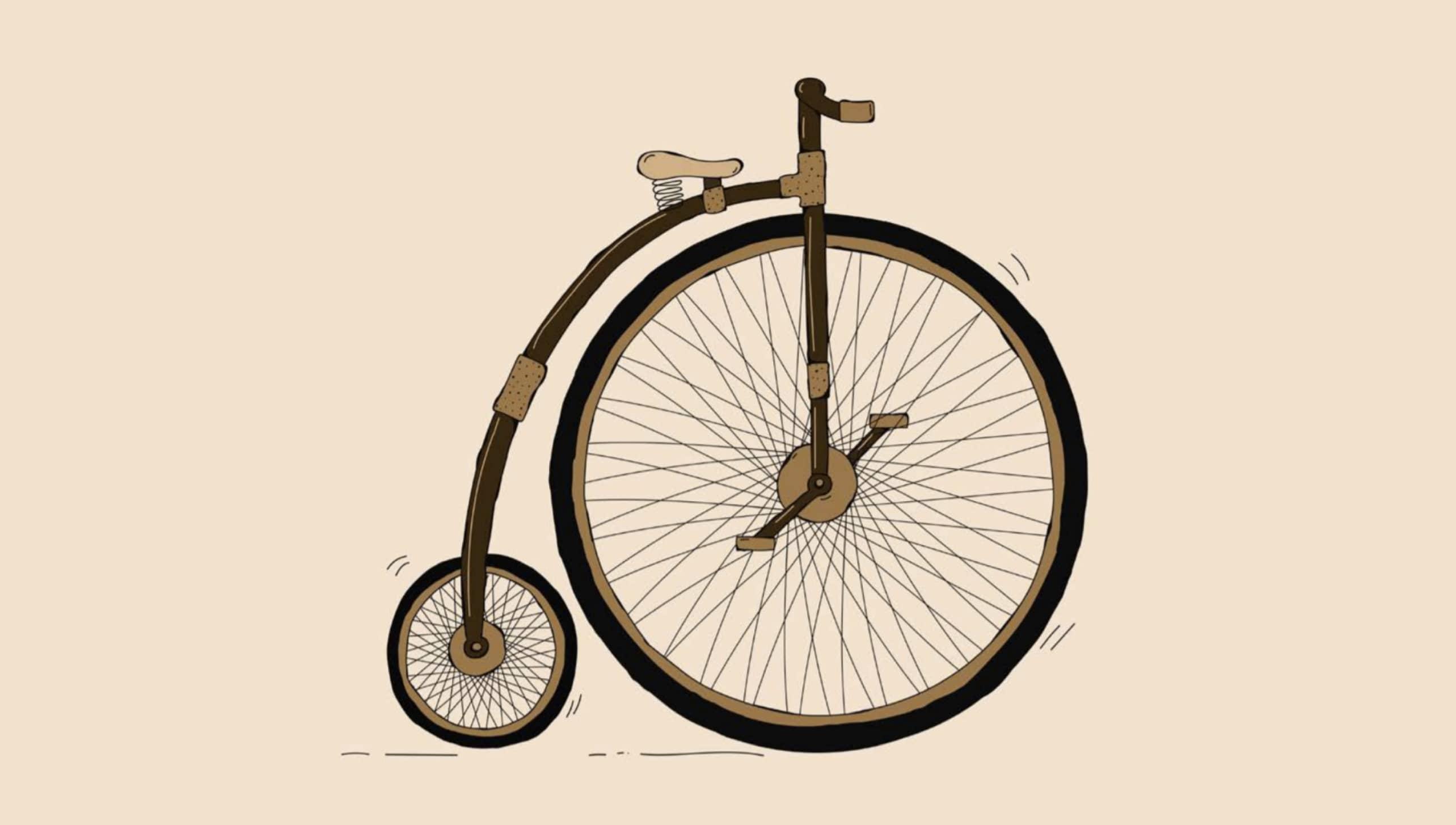 Illustratie van een oude fiets