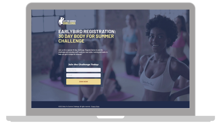 Embedded viral give away campaign form preview for gym