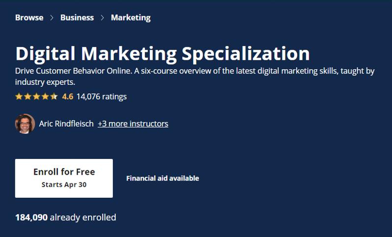 Digital Marketing Specialization- eCommerce Courses 2021