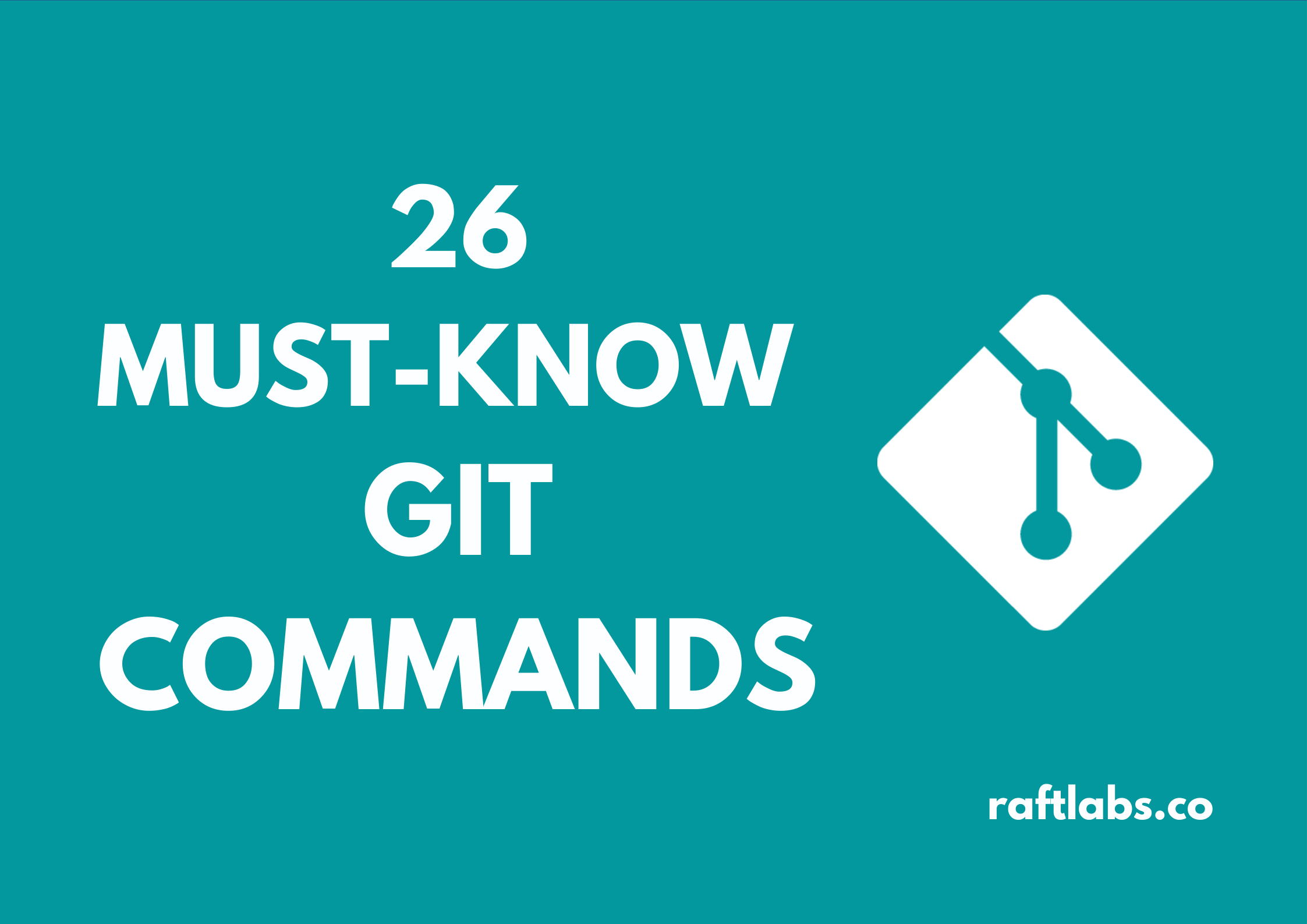 26 Must Know Git commands with Git logo [raftlabs.co]
