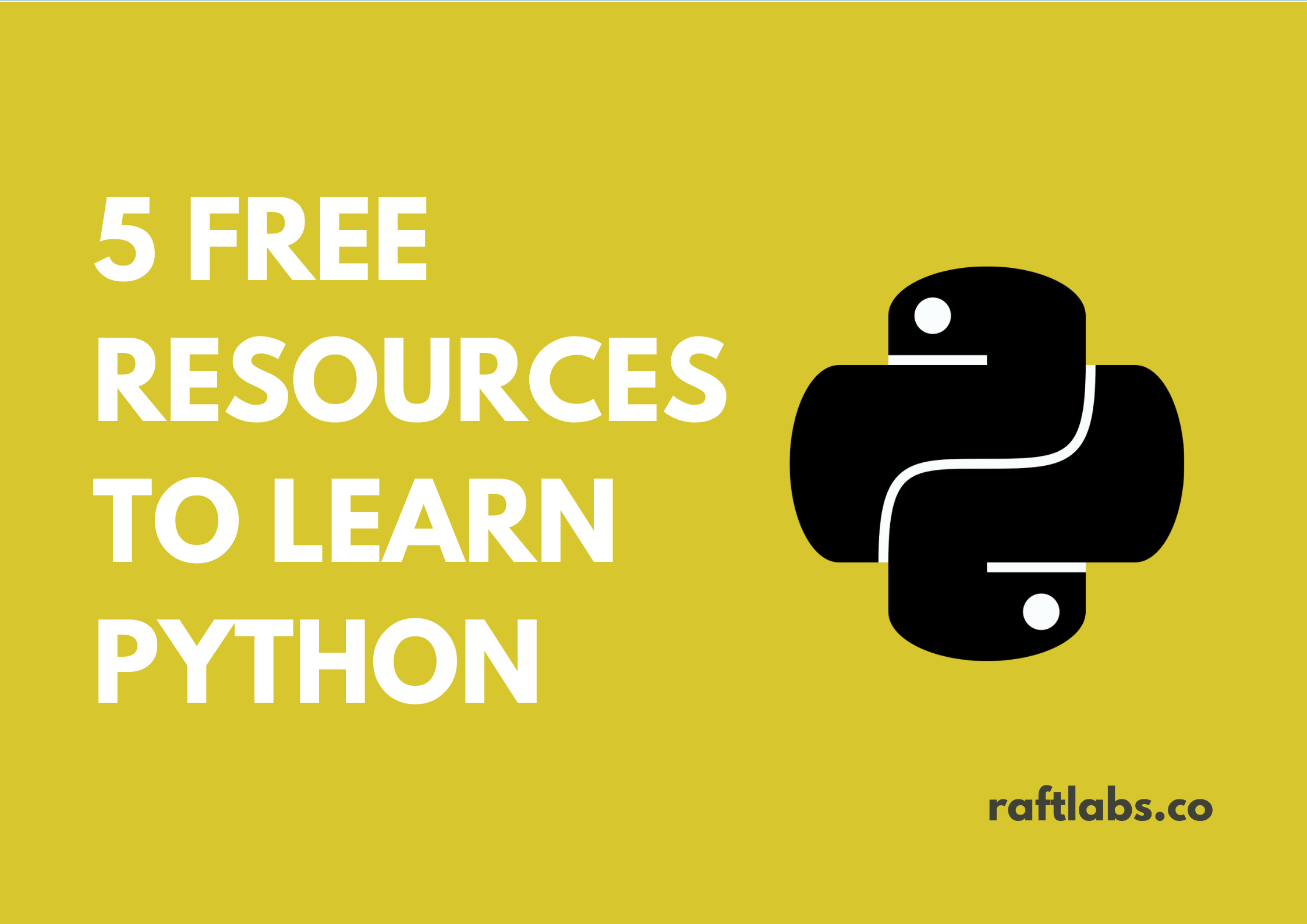 Best 5 Free Resources to learn Python with a black Python logo - raftlabs.co