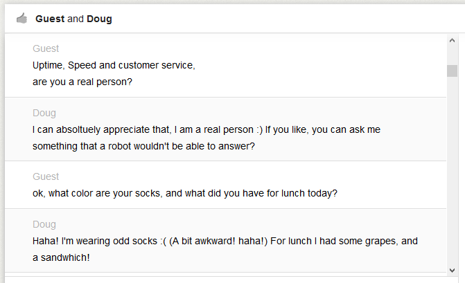 live chat example transcript