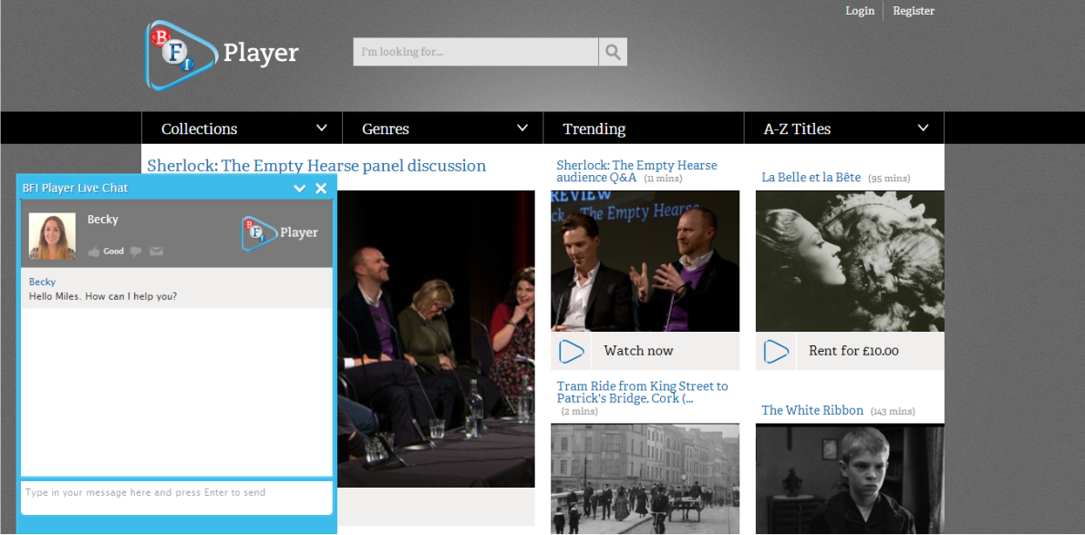 Online Live Help for BFI Player