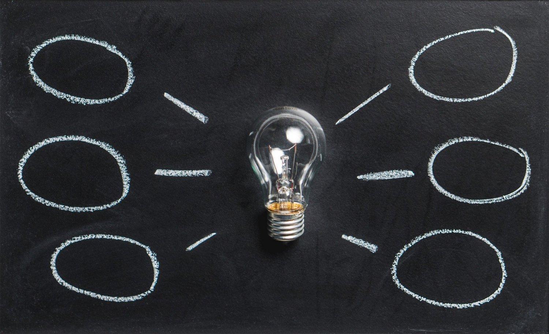 lightbulb on blackboard with ideas