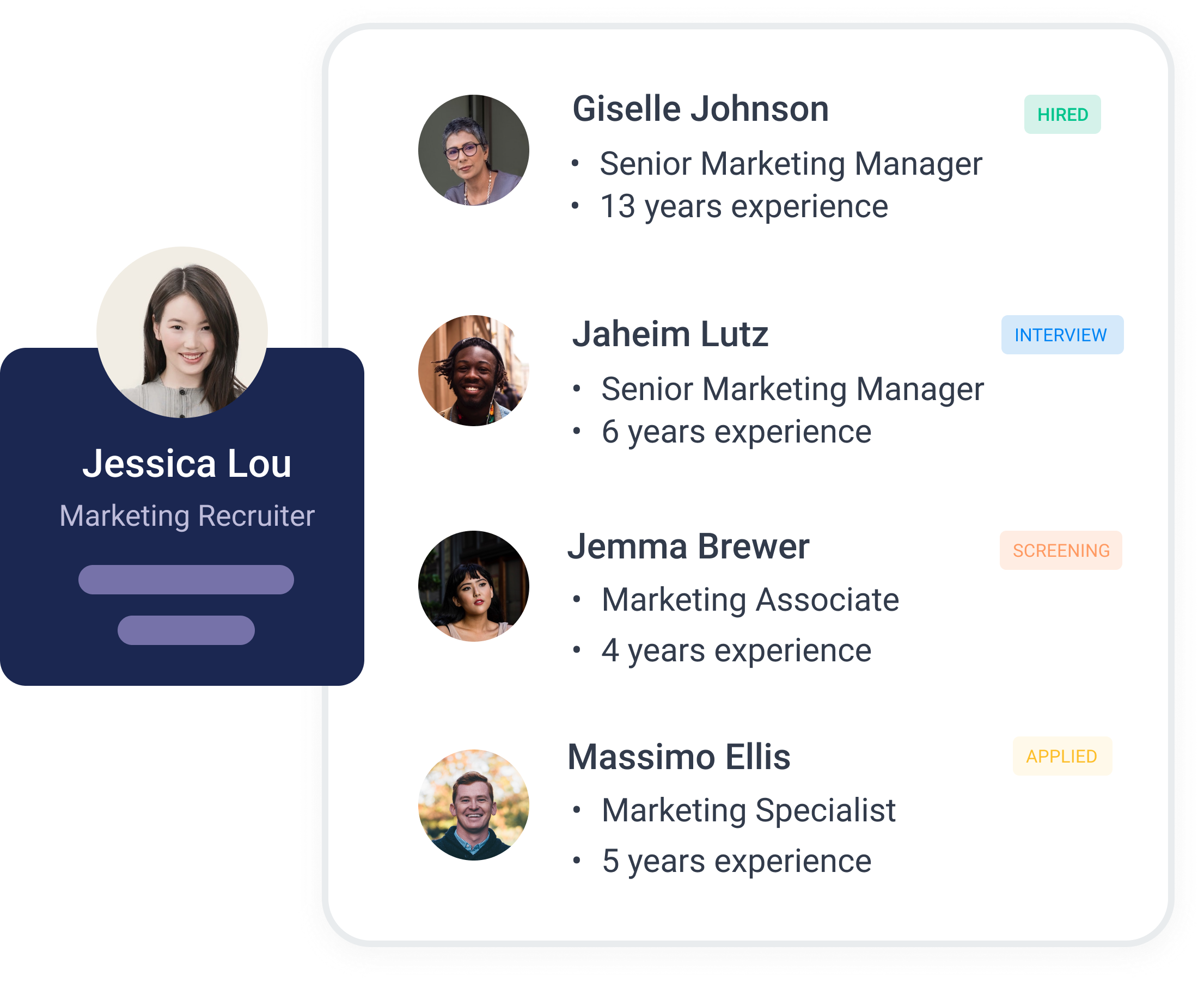 overview of candidates in recruitment platform with nugget.ai