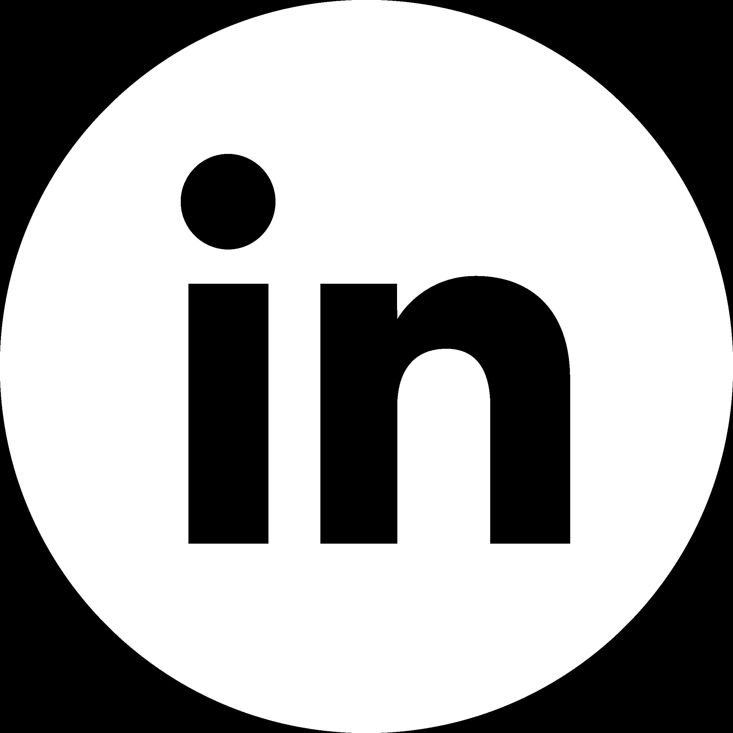 Logo LinkedIn rond Blanc