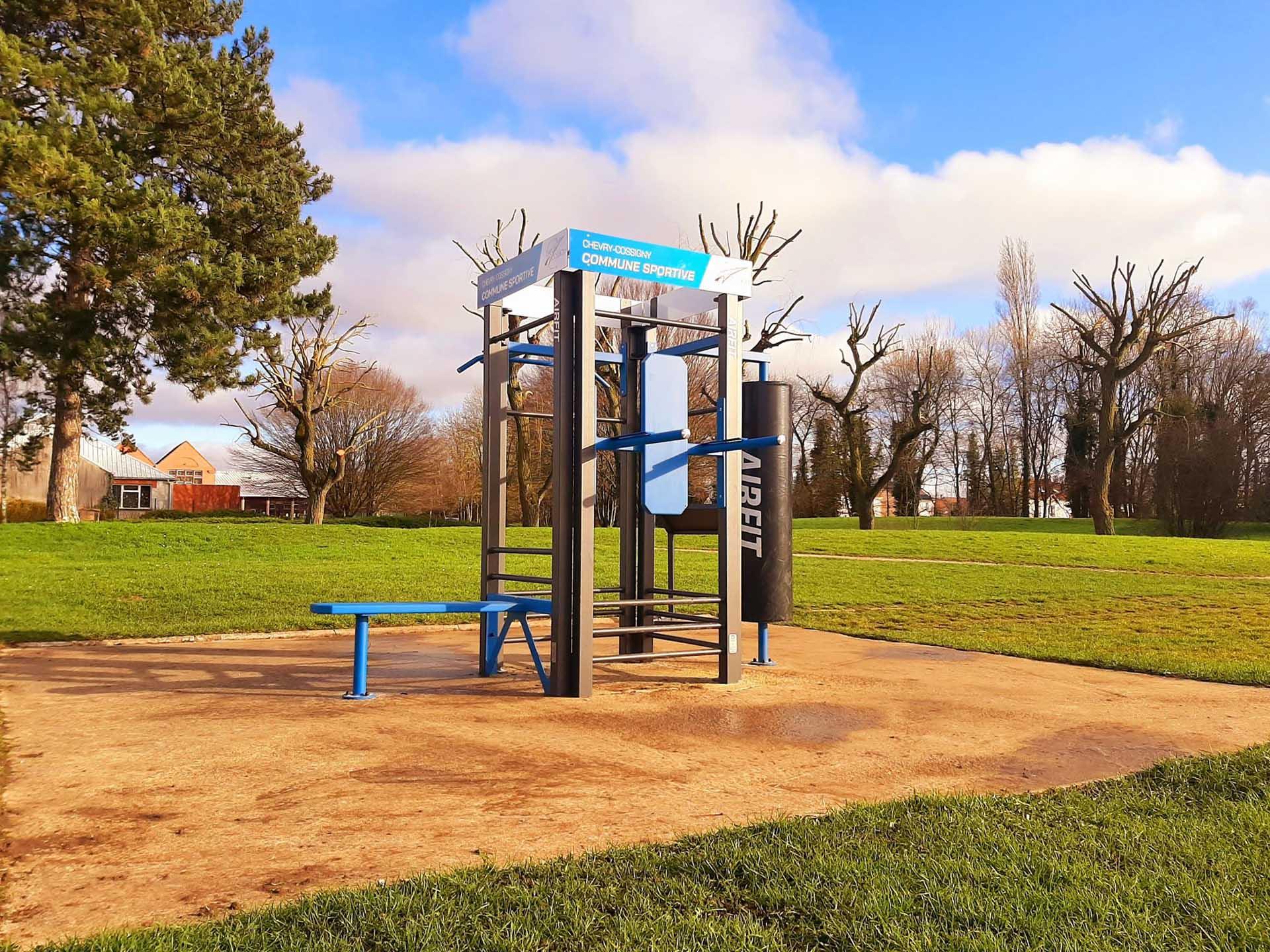 Photo de l'aire de fitness en extérieur du complexe sportif de Chevry-Cossigny