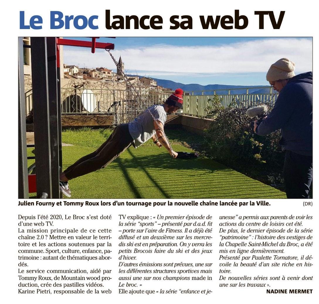 Coupure du journal Nice Matin d'un article sur l'aire de fitness AirFit du Broc