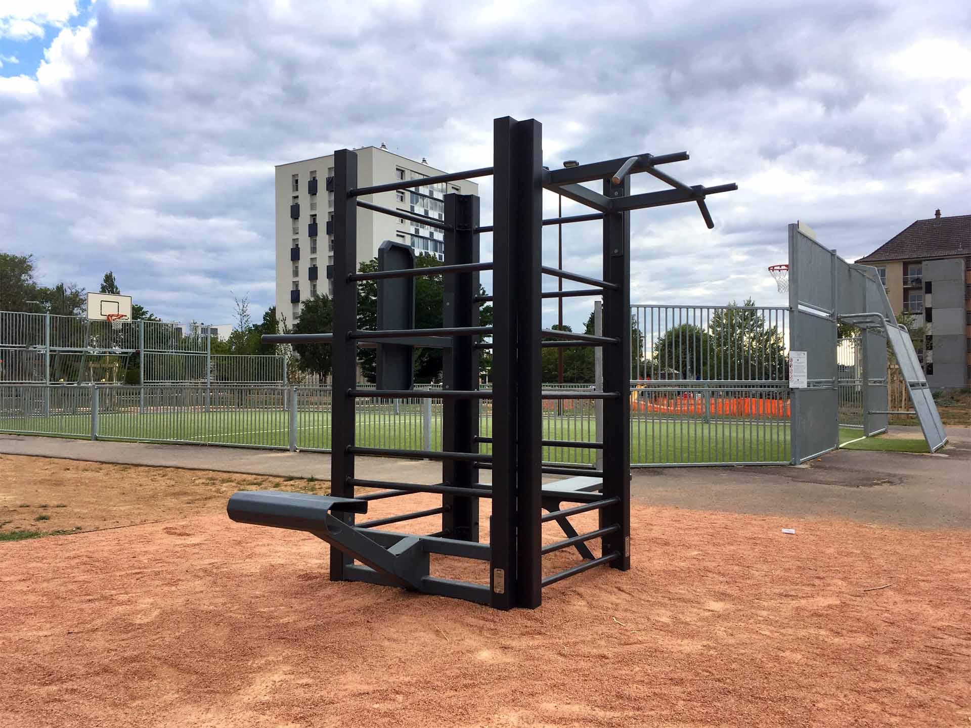 Photo de l'aire de Fitness en extérieur à côté du City-Stade de Cusset