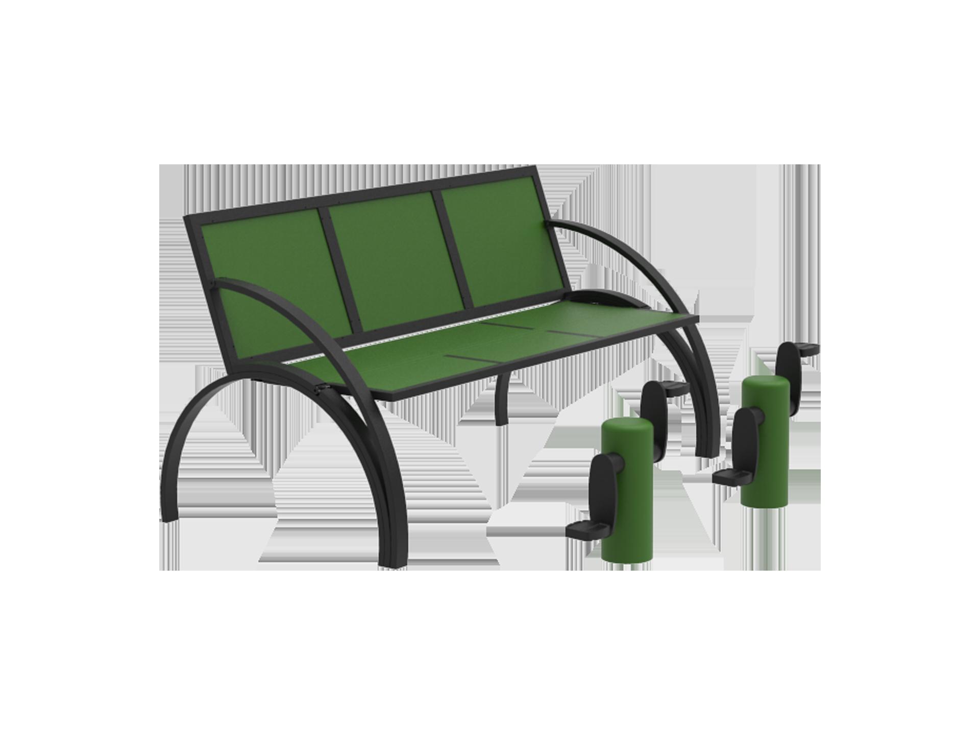 3D d'un agrès guidé pédalier accompagné d'un banc traditionnel