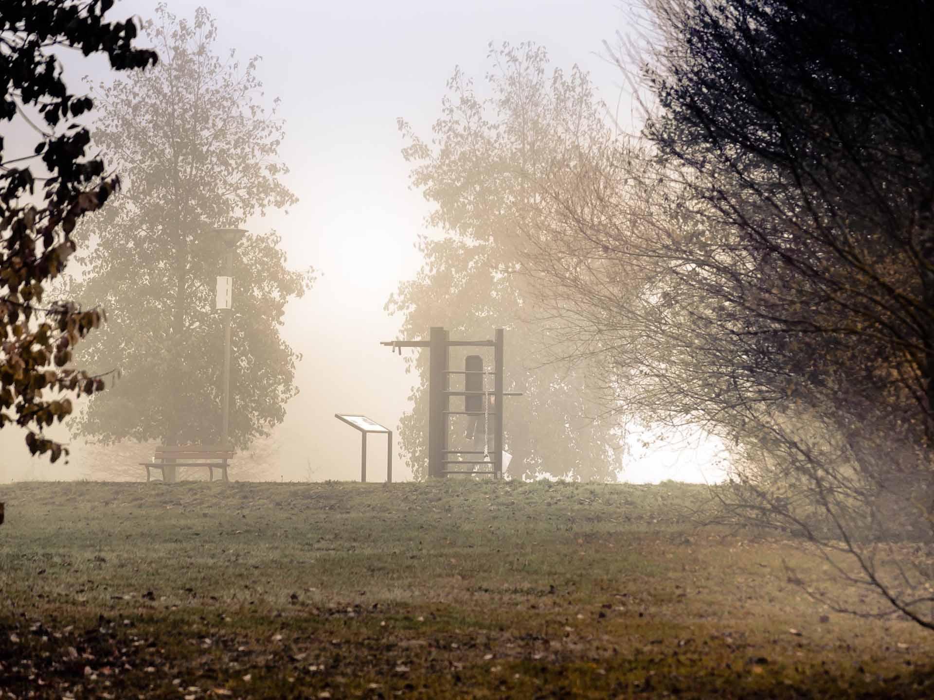 Photo de loin du plateau sportif du Parc du Génitois à Bussy-Saint-Georges