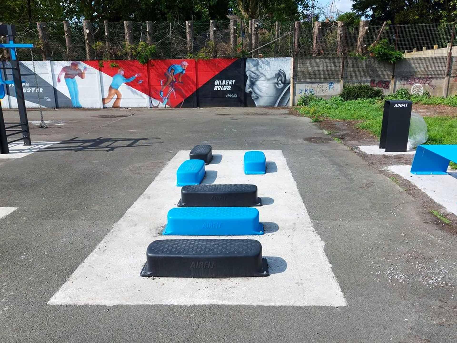 Photos des Steps Bleu et Noir sur l'aire de fitness en accès libre de Sallaumines
