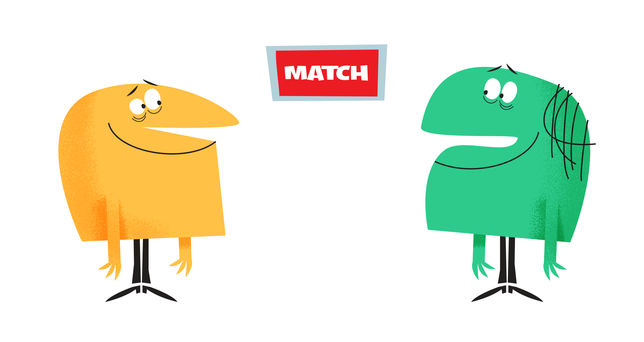 Illustration - Characters getting matched