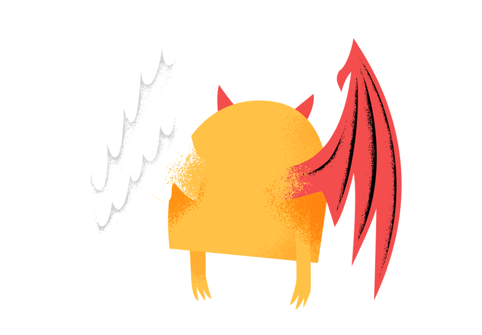Illustration - Character with good vs evil wings