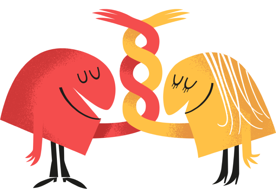 Illustration - Characters tipping their caps to each other