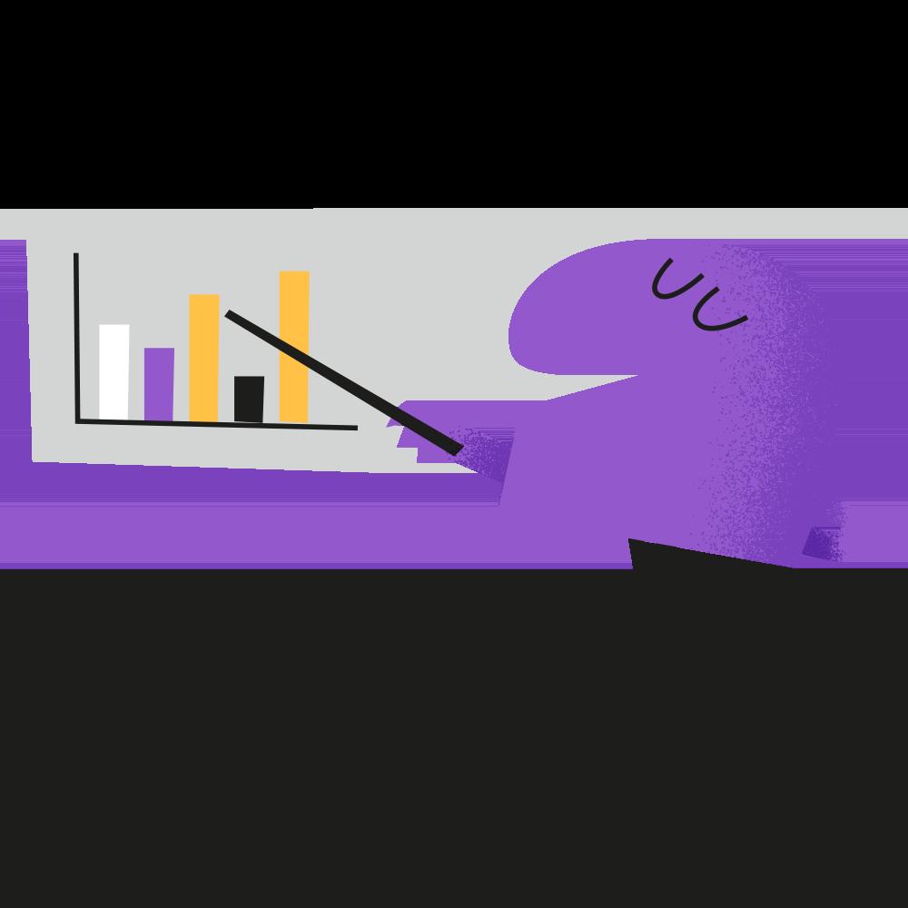 Illustration - Character pointing at a bar chart