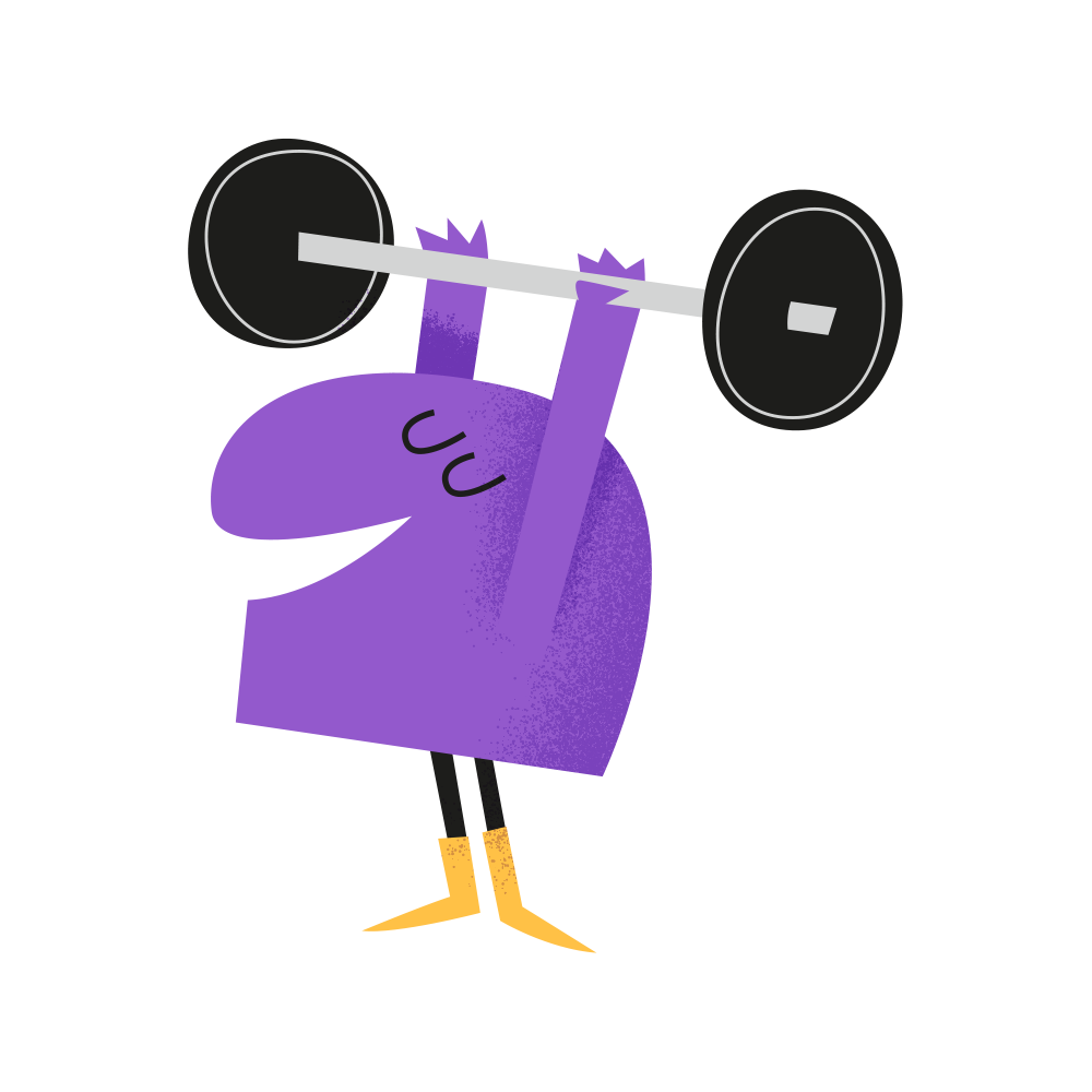 Illustration - Character lifting weights
