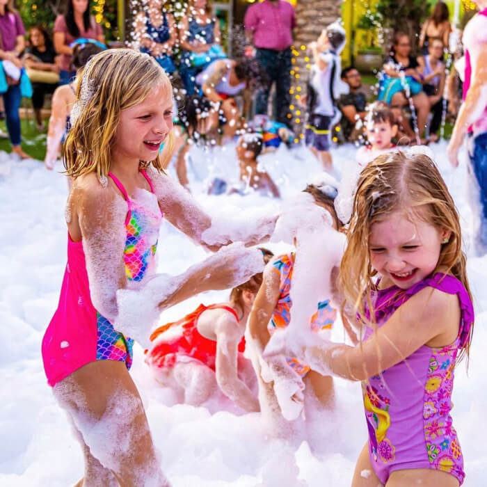 What should girls wear at a foam party?