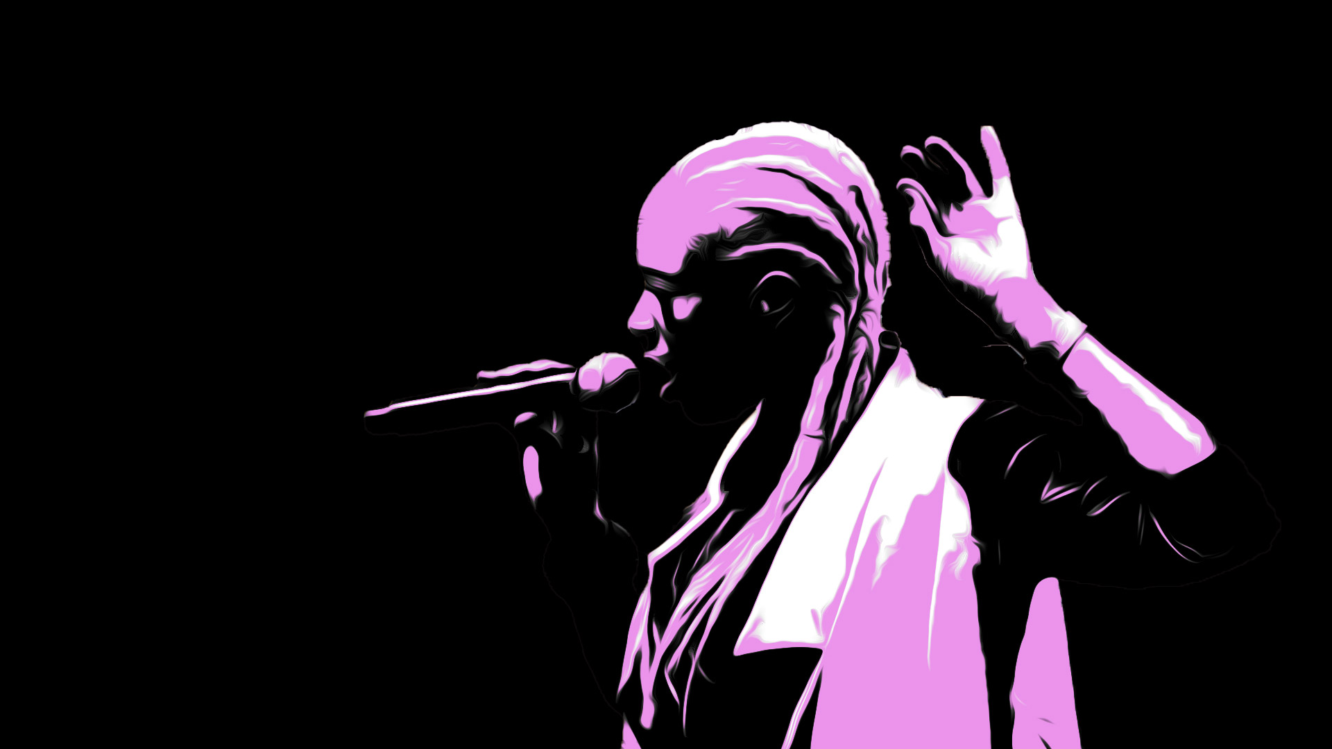 An illustrated image of Soulful Emma Louise (S.E.L) singing. Black background with pink and white highlights.