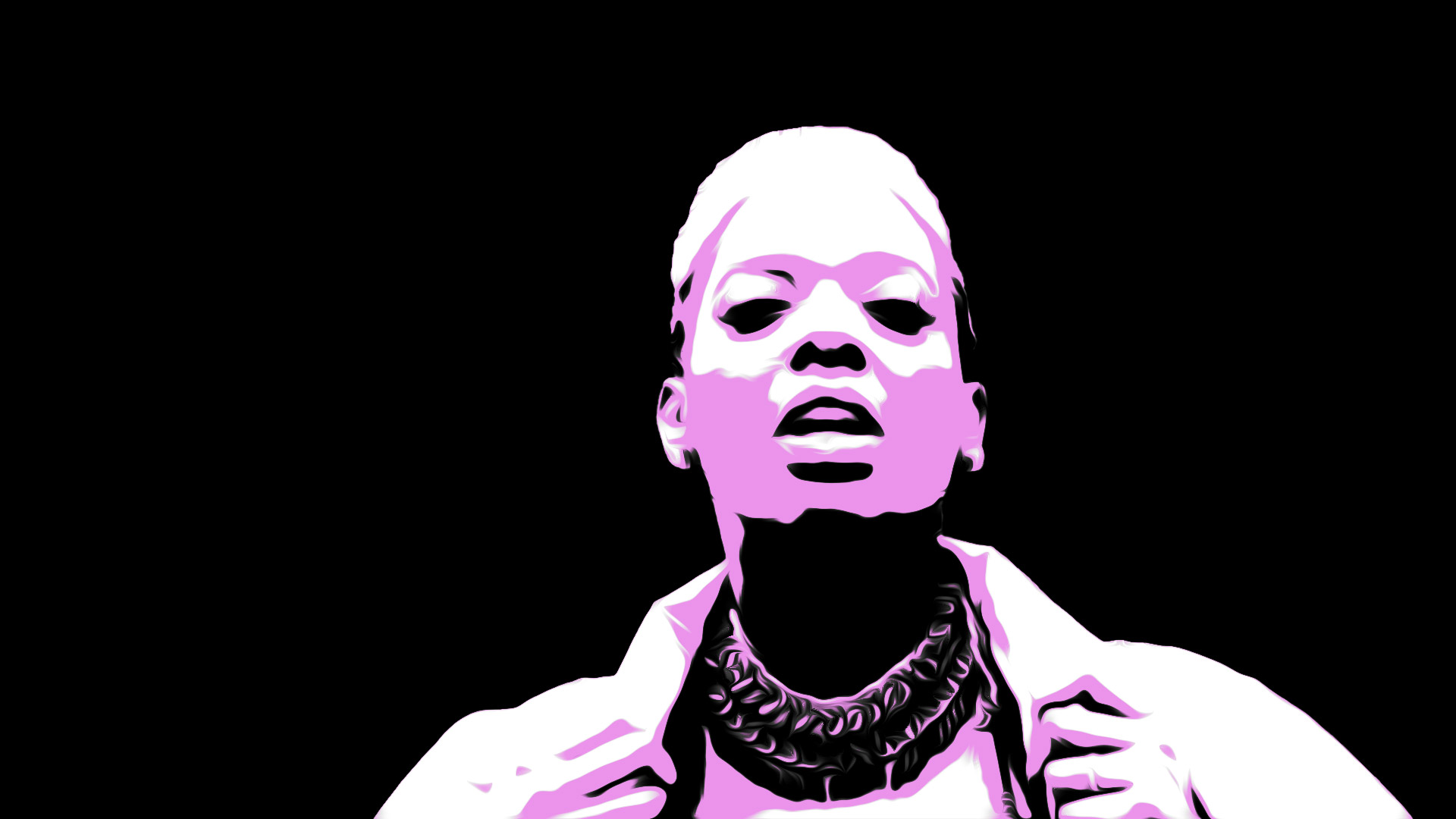 An illustrated image of Soulful Emma Louise (S.E.L). Black background with pink and white highlights.