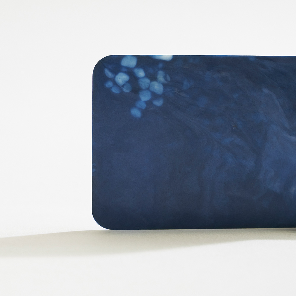 Shellworks material plaque - deep blue colour with white marbling.