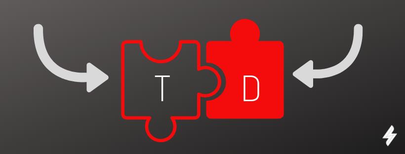 imagem de treinamento e desenvolvimento representados por peças de quebra cabeça com duas setas para encaixar as peças.