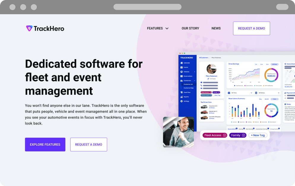 A user interface mockup of Track Hero homepage