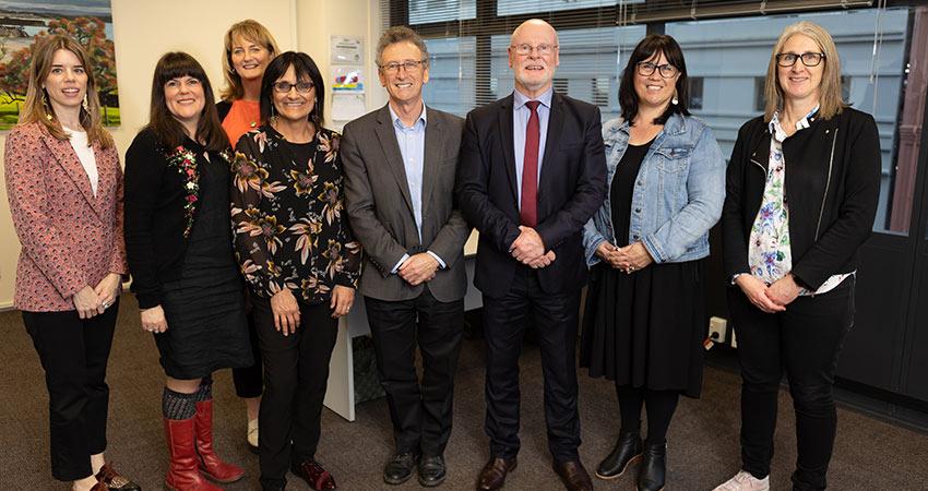 Teacher Development Aotearoa staff and board in new office