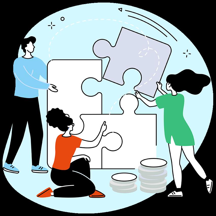 Teacher Development Aotearoa - illustrated teachers and kaiako solving puzzle together