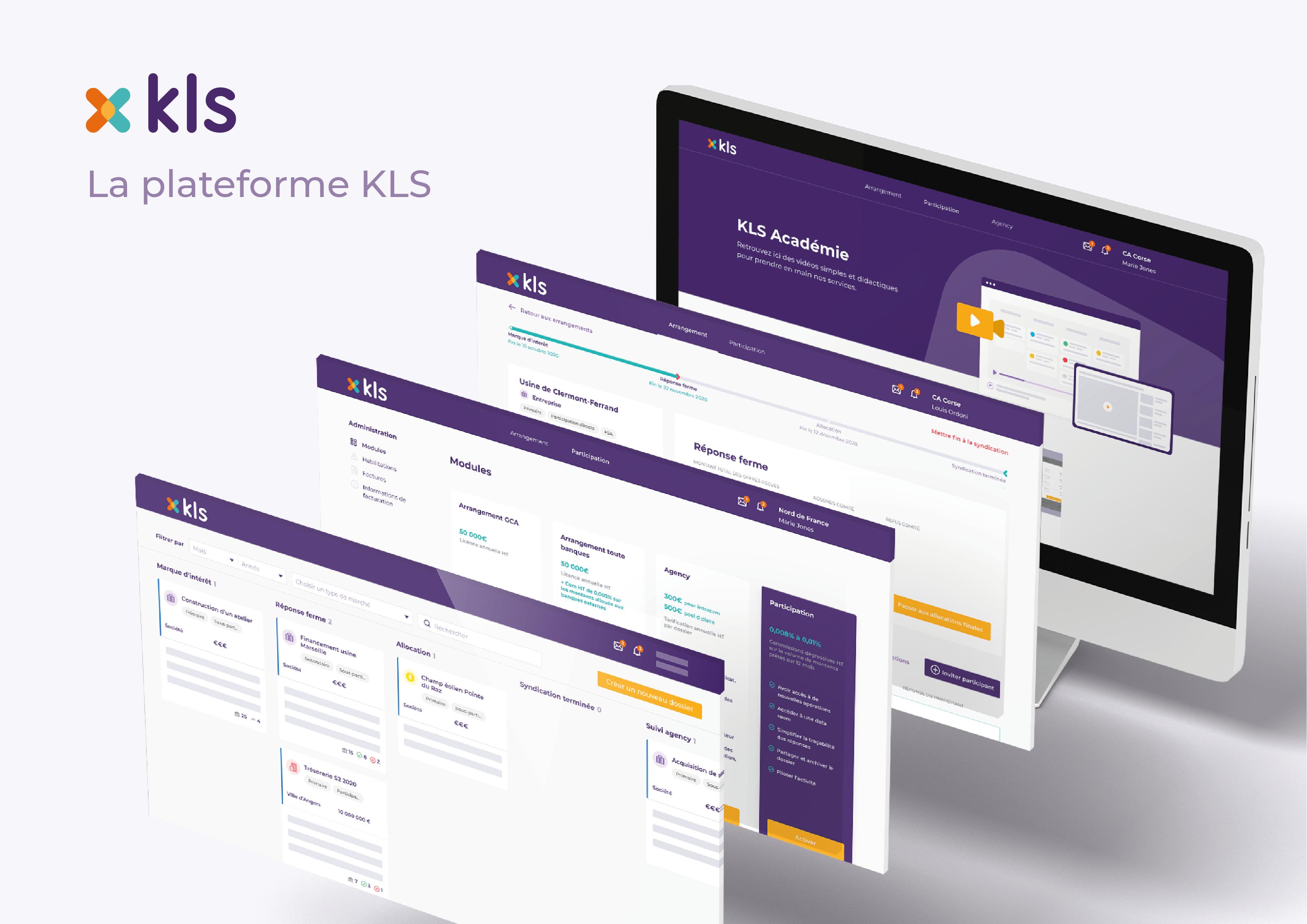Des copies d'écrans de la plateforme KLS