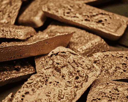 Bars of raw metal.
