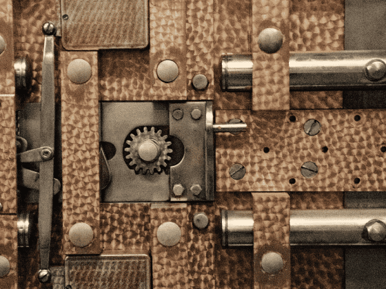 A detailed image of a safe's locking mechanism.