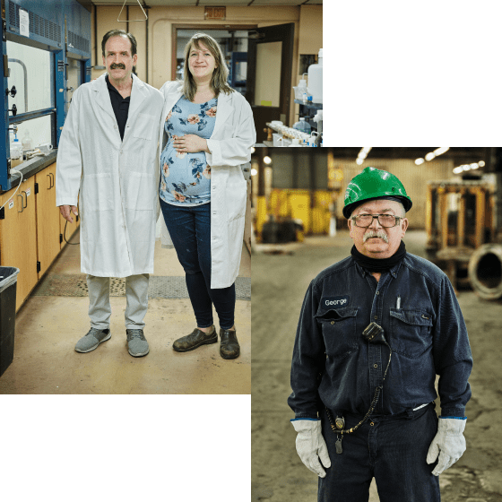 A collage of Sabin employees, two standing in a lab and one on a plant floor.