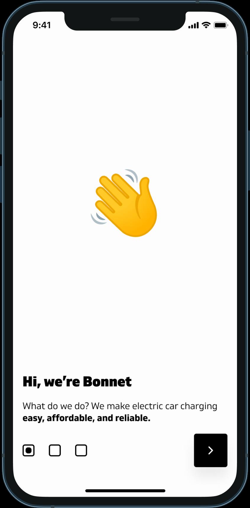 A screenshot of Bonnet's welcome screen