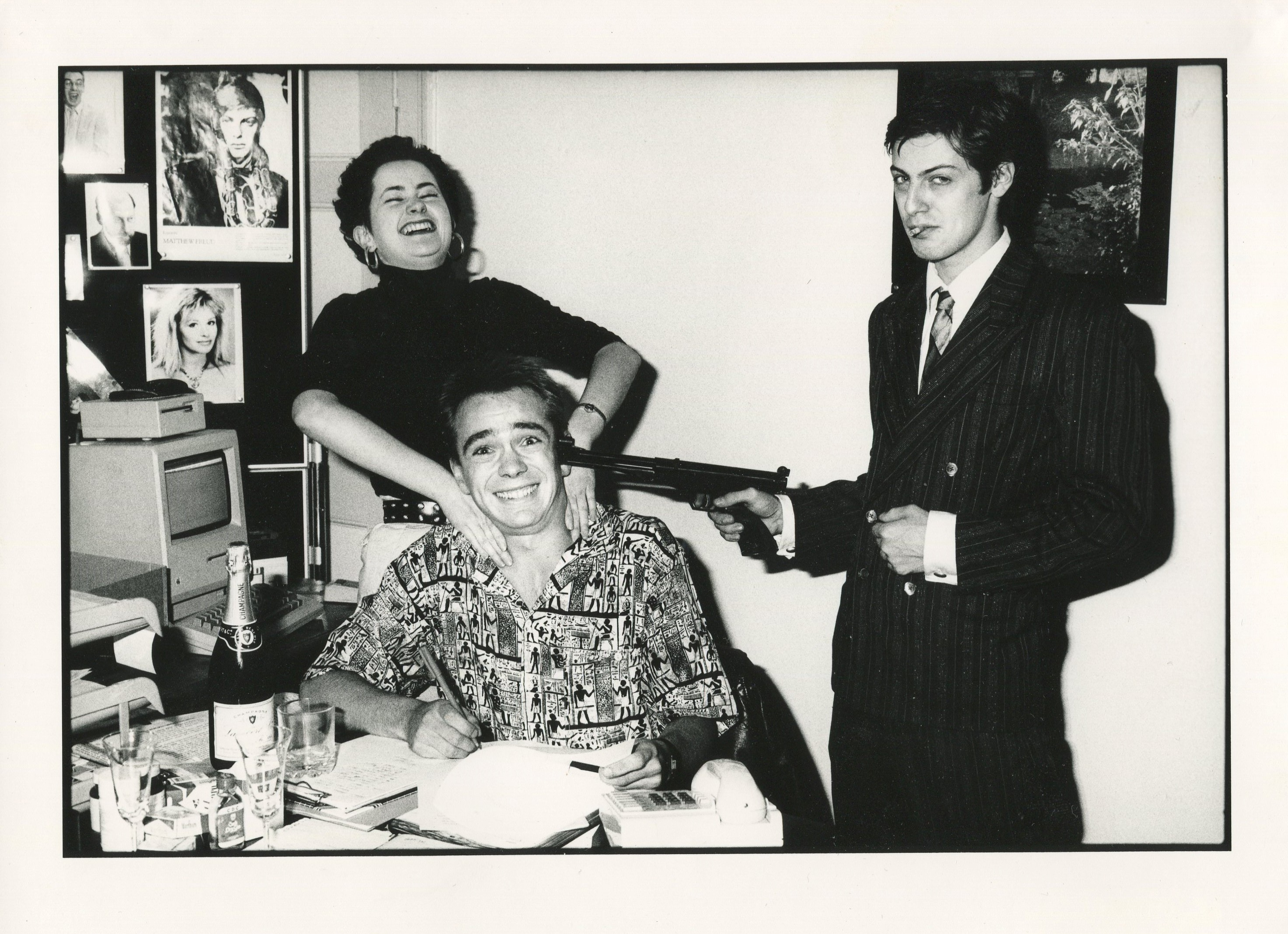 Les Bubb signing his first contract in the 1980s with Matthew Freud