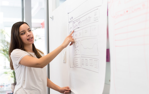 A woman standing next to a whiteboard and pointing to a wireframe