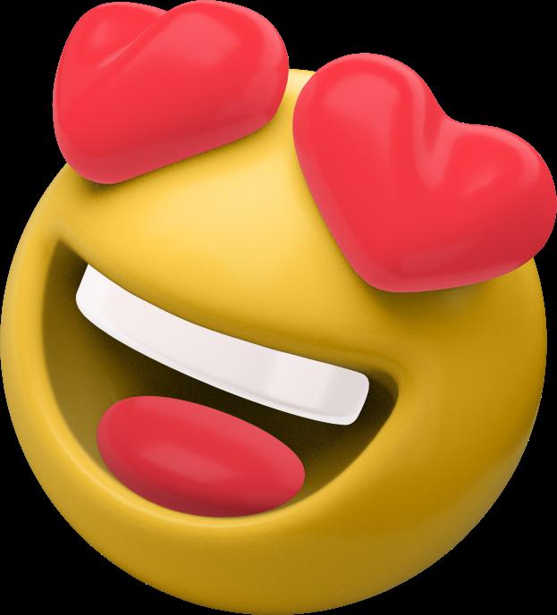 3D emoji with heart eyes