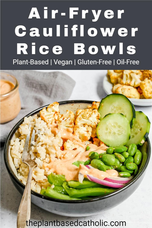 Air-Fryer Cauliflower Rice Bowls Pinterest Graphic