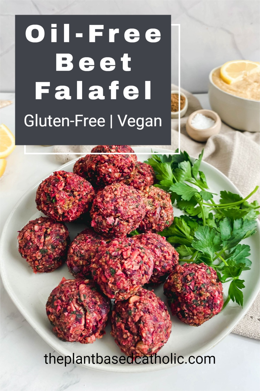 Oil-Free Beet Falafel Pinterest Graphic