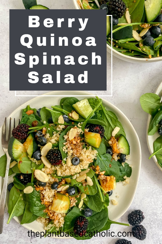 Berry Quinoa Spinach Salad Pinterest Graphic