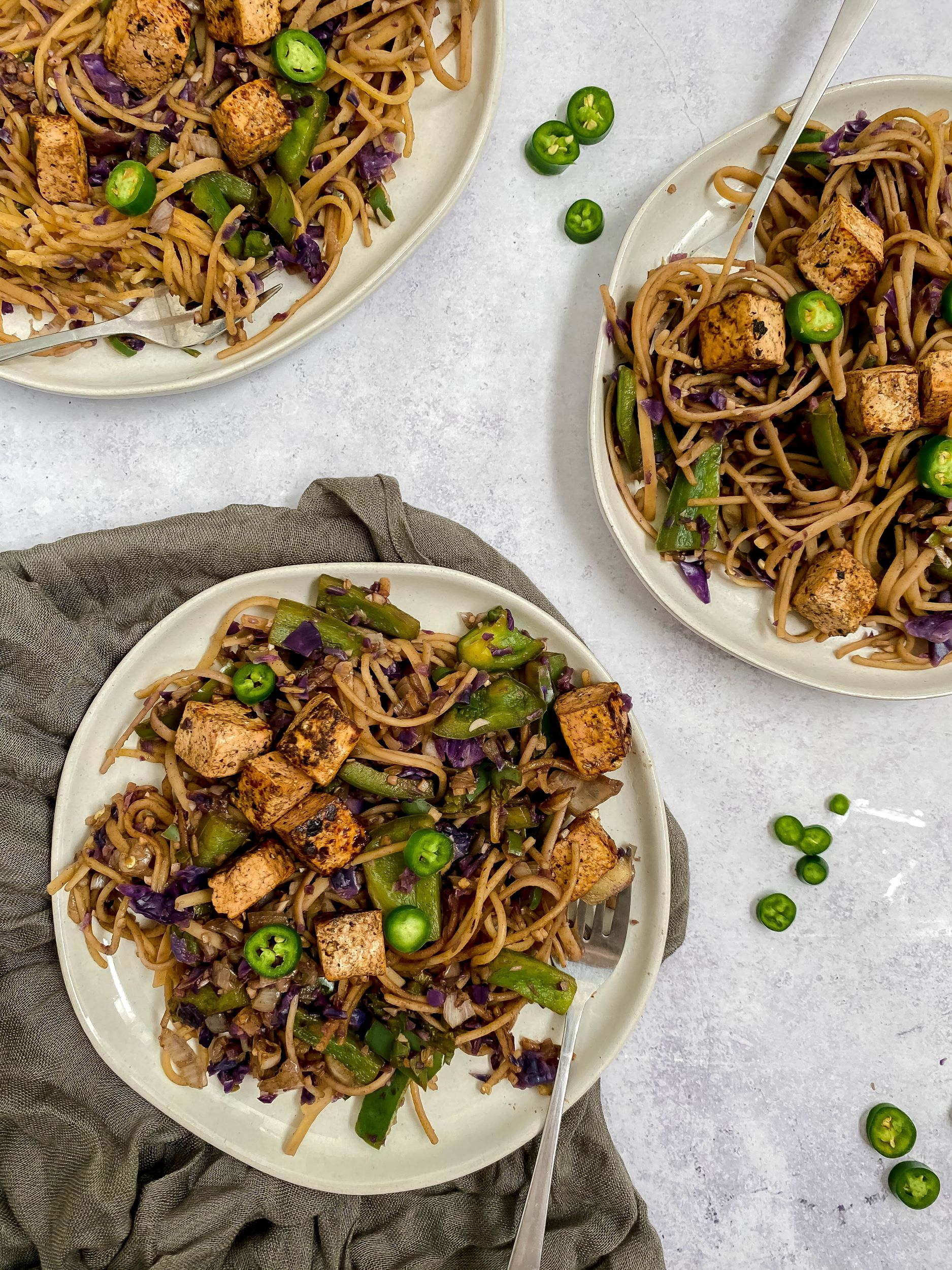 Garlic Jalapeno Noodles with Crispy Tofu