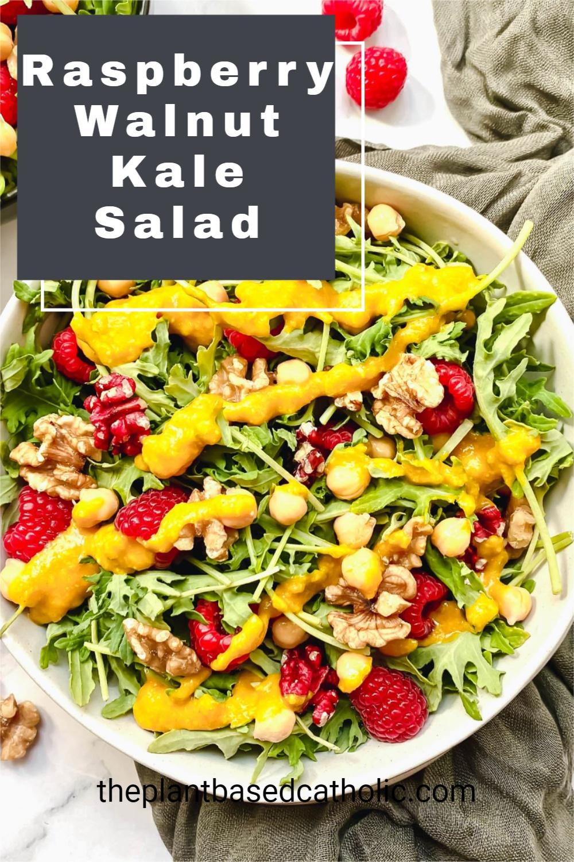 Raspberry Walnut Kale Salad with Creamy Garlic Turmeric Dressing Pinterest Graphic