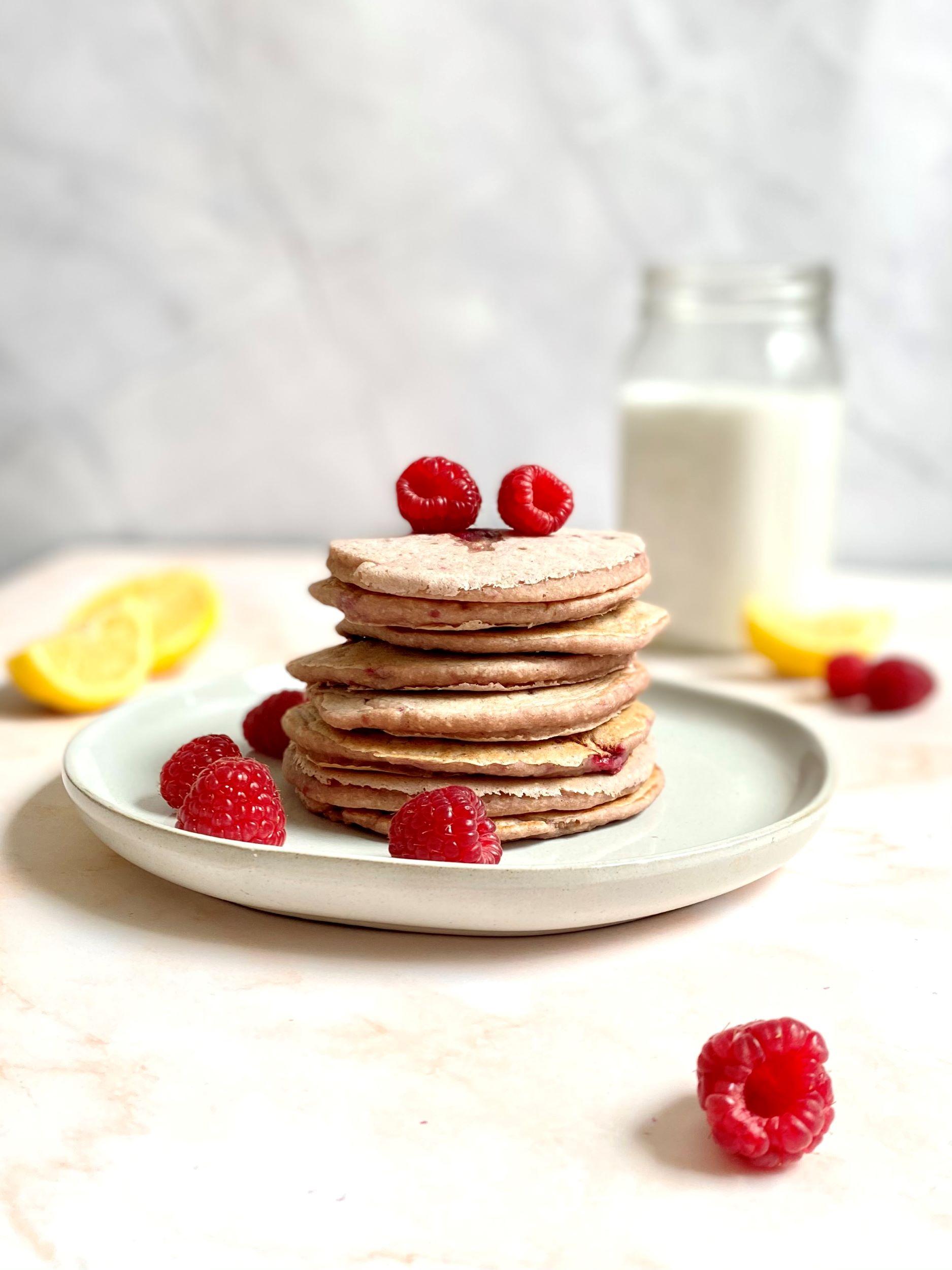 Vegan Raspberry Lemon Pancakes